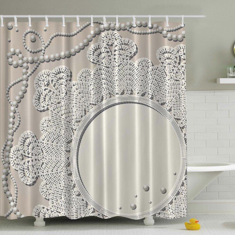 Battenburg lace shower curtain white