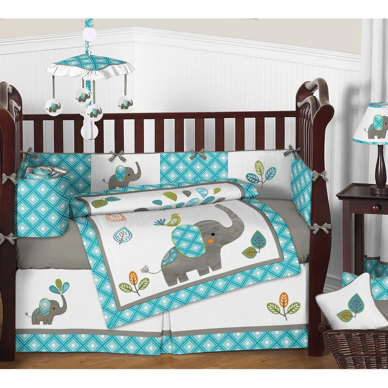 Sweet Jojo Designs Mod Elephant 9 Piece Crib Bedding Set & Reviews ...
