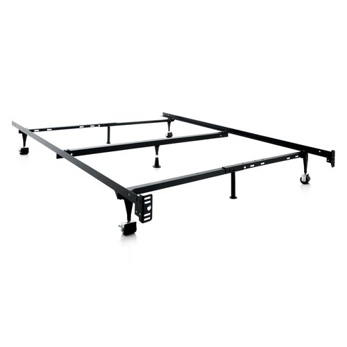 Symple Stuff Heavy Duty  Leg Adjustable Metal Bed Frame With Centre