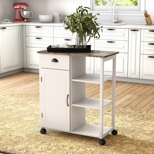 Queens Kitchen Cart with Marble Top By Andover Mills