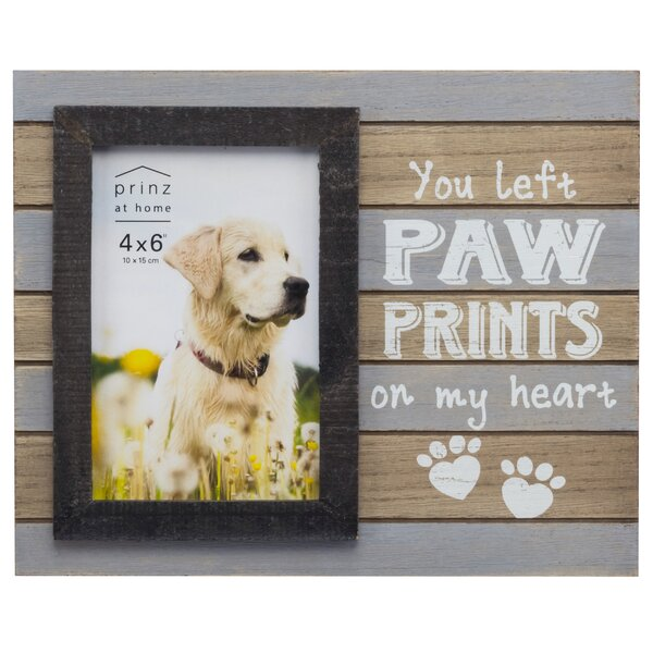 prinz messages moments you left paw prints on my heart pet planked wood picture frame reviews wayfair - Dog Picture Frame