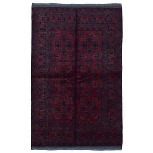 Compare One-of-a-Kind Angoy Afghan Hand-Knotted Wool Red/Black Area Rug By Isabelline