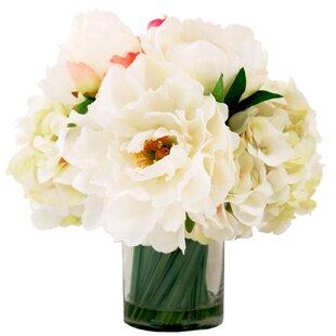 White peonies in vase wayfair peonies floral arrangement in decorative vase mightylinksfo