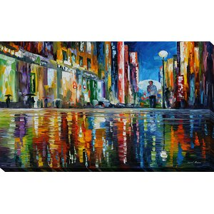 Mirror of the Rain by Leonid Afremov Painting Print on Wrapped Canvas by Picture Perfect International