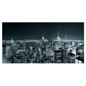 New York City Skyline at Night Cityscape Photographic Print on Wrapped Canvas by Design Art