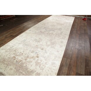 One-of-a-Kind Alexia Heriz Oriental Hand-Knotted Silk BeigeIvory AlexiaorOutdoor Area Rug