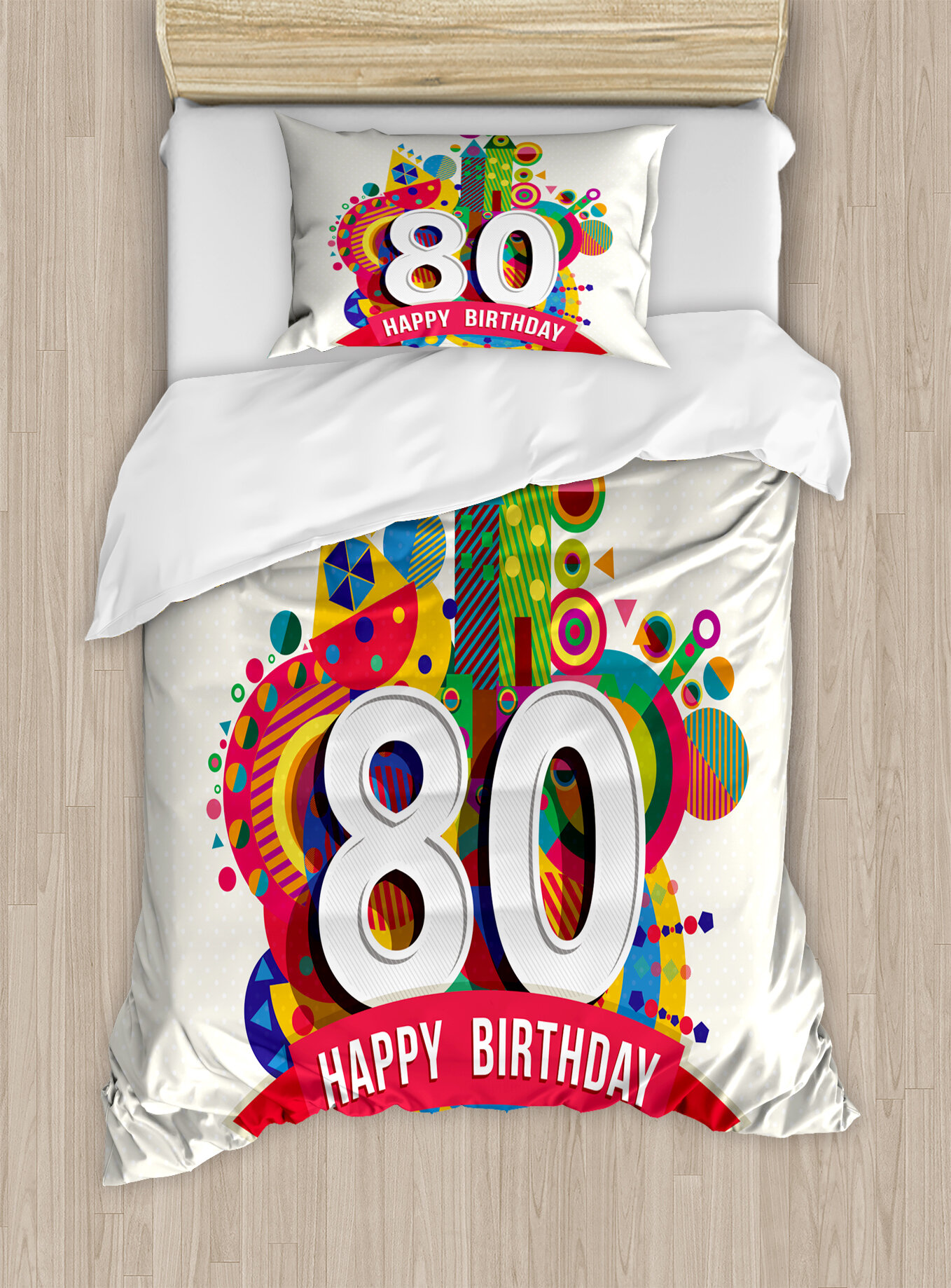 Ambesonne 80th Birthday Decorations Happy Ribbon With Geometric Castle Boat And Shapes Image Duvet Cover Set