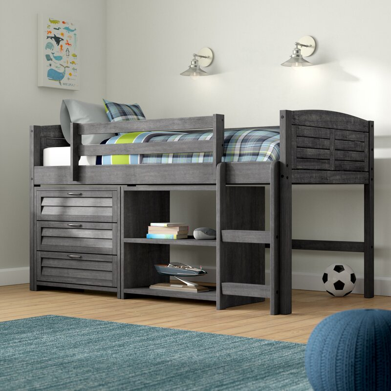 Harriet Bee Evan Twin Low Loft Bed With Storage Amp Reviews