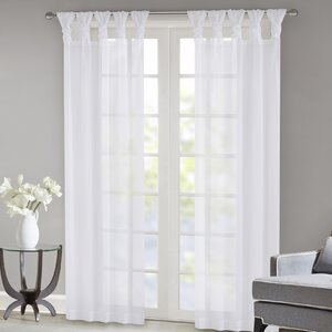 Kater Twisted Voile Solid Sheer Tab Top Curtain Panels (Set of 2)