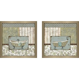 Country Style Bath' 2 Piece Framed Acrylic Painting Print Set Under Glass by Ophelia & Co.