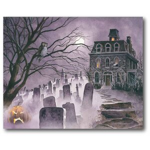 'Purple Haunted House' Graphic Art Print on Canvas by The Holiday Aisle