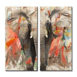 Saddle Ink Elephant I 2 Piece Graphic Art on Canvas Set by Ready2hangart