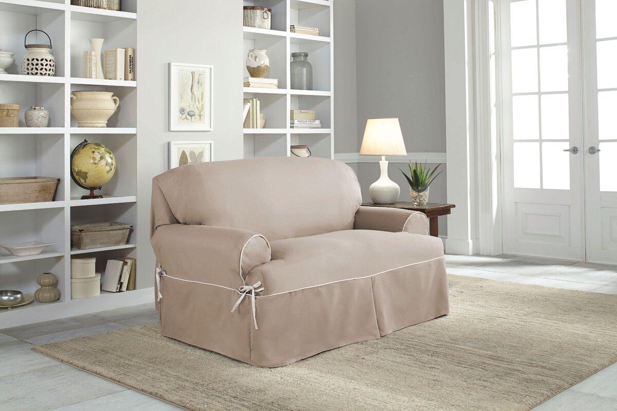 Twill T Cushion Loveseat Slipcover