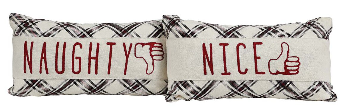 Ball Ground 2 Piece Naughty and Nice Lumbar Pillow Set