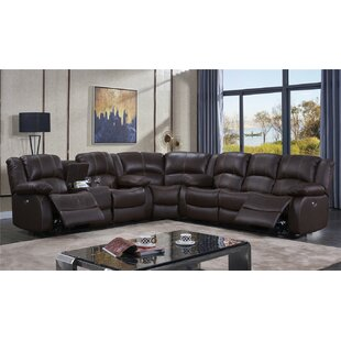 Raylee Leather Reversible Reclining Sectional