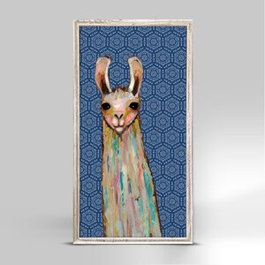 'Baby Llama on Bohemian Pattern' Acrylic Painting Print by Bungalow Rose