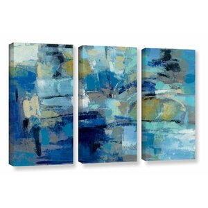 Ultramarine Waves III 3 Piece Painting Print on Wrapped Canvas Set by Brayden Studio