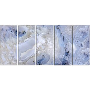 'Agate Stone Background' 5 Piece Graphic Art on Wrapped Canvas Set by Design Art