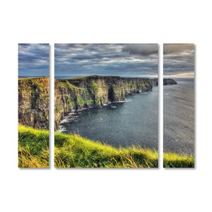 'Cliffs of Moher Ireland' by Pierre Leclerc 3 Piece Photographic Print on Wrapped Canvas Set by Trademark Fine Art