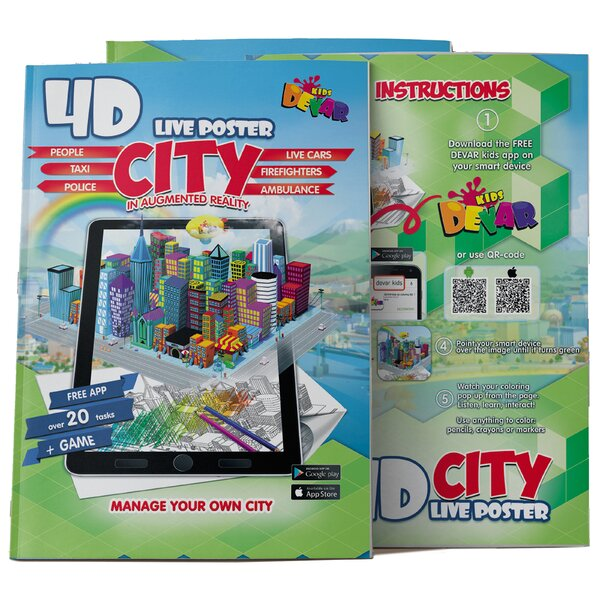 DEVAR 4D Augmented Reality Come To Life Coloring Books Devar City Poster
