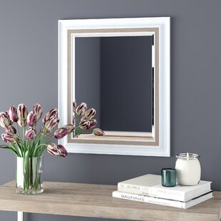 Lark Manor White Brushed Steel Beveled Wall Mirror