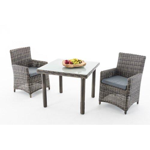 Greemotion Gartentisch Manila 140 cm Rattantisch Polyrattan Tisch grau bicolor