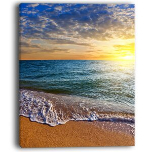 Layers of Colors on Sunrise Beach Seashore Photographic Print on Wrapped Canvas by Design Art