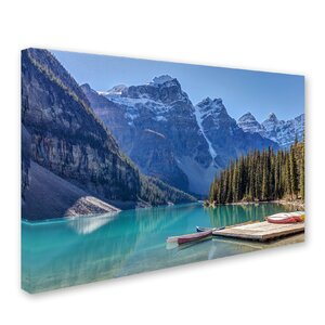 Moraine Lake Canoes by Pierre Leclerc Photographic Print on Wrapped Canvas by Trademark Fine Art