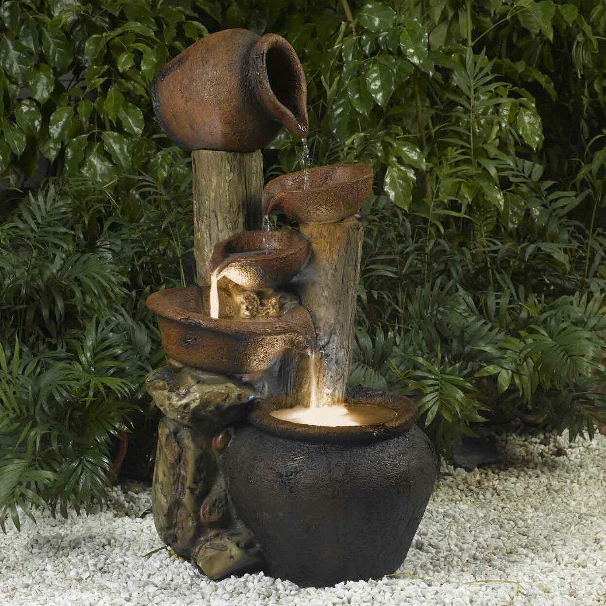 Resin/Fiberglass Pentole Pot Indoor/Outdoor Fountain With Light