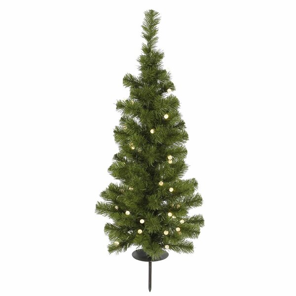 Vickerman Solar 3' Green Artificial Christmas Tree with 30 LED Warm ...