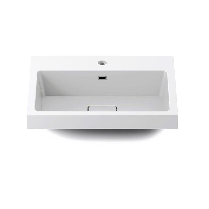 lavabo de salle de bain rectangulaire à insertion en polymarbre Joki