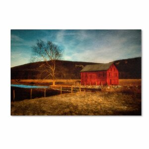Red Barn at Twilight by Lois Bryan Photographic Print on Wrapped Canvas by Trademark Fine Art