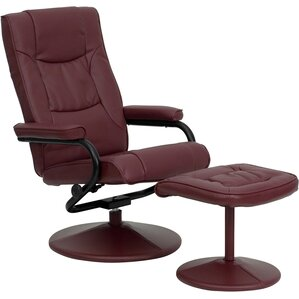 Manual Swivel Glider Recliner With Ottoman by Offex