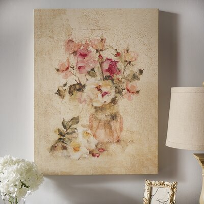 """'Rose Panel I' Painting Print on Wrapped Canvas Lark Manor Size: 10"""" H x 8"""" W x 2"""" D"""