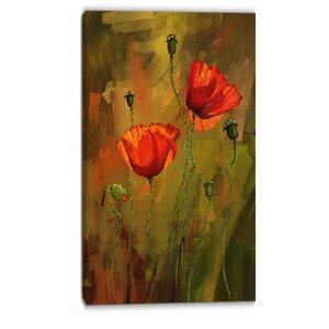Poppy Flowers Painting Print on Wrapped Canvas by Design Art