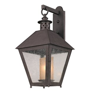 Best Reviews Dinerstein 1-Light Hand-Forged Iron Outdoor Wall Lantern By Longshore Tides