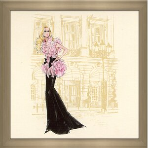 Pink and Black Gown Barbie® by Robert Best Framed Painting Print by Picture Perfect International