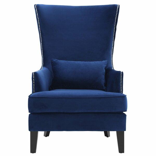 willa arlo interiors jacinto velvet wingback chair & reviews | wayfair