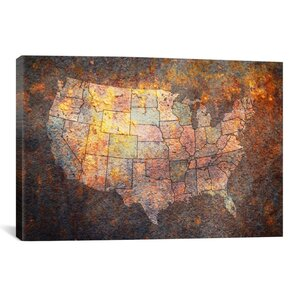 'U.S.A. Map' by Michael Tompsett Graphic Art on Canvas by iCanvas
