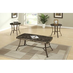 Hassett Faux Marble Top 3 Piece Coffee Table Set (Set of 3) Ebern Designs
