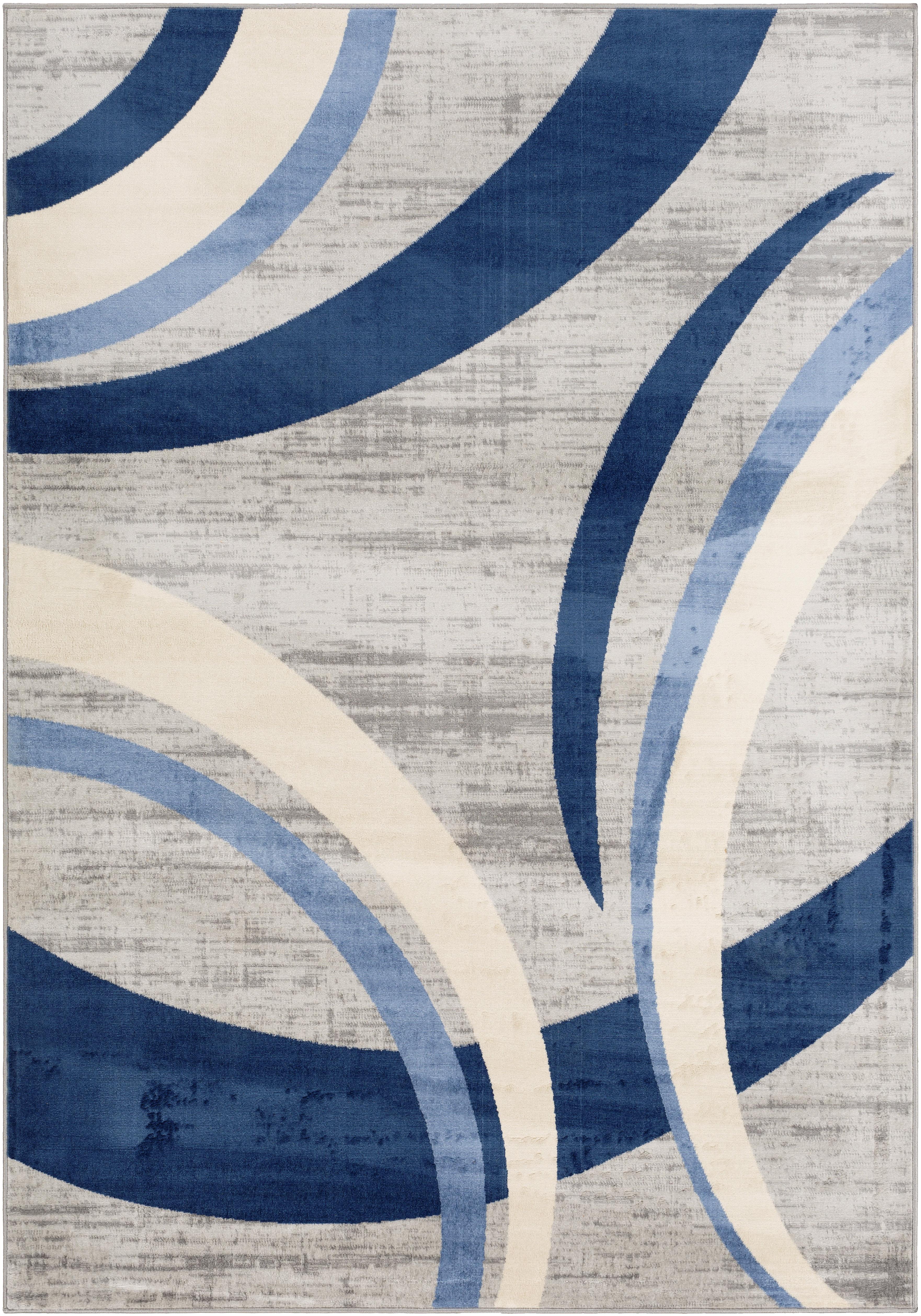 Wrought Studio Glossop Distressed Modern Navy Blue Light Gray Area