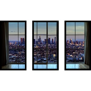 'Downtown Los Angeles Window' 3 Piece Framed Photographic Print Set by Picture Perfect International