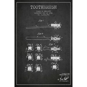 'Toothbrush Charcoal Patent Blueprint' Graphic Art on Wrapped Canvas by Williston Forge
