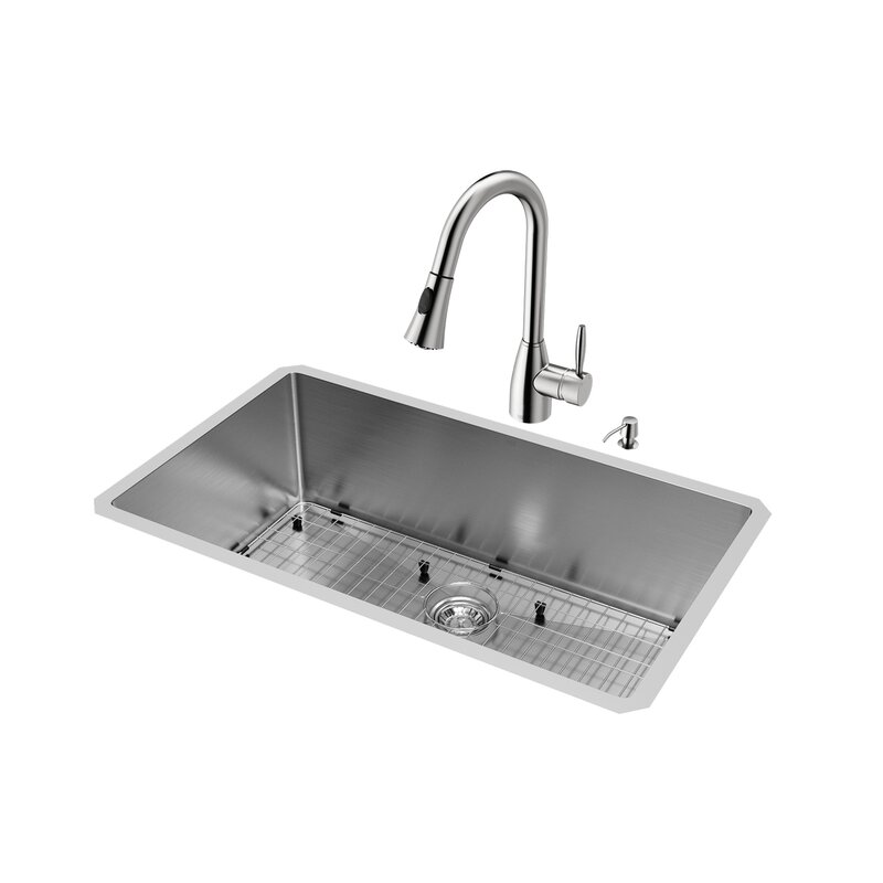 Medium image of 32 inch undermount single bowl 16 gauge stainless steel kitchen sink with aylesbury stainless steel faucet