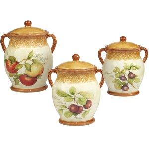 Carmichaels Fruit 3 Piece Kitchen Canister Set