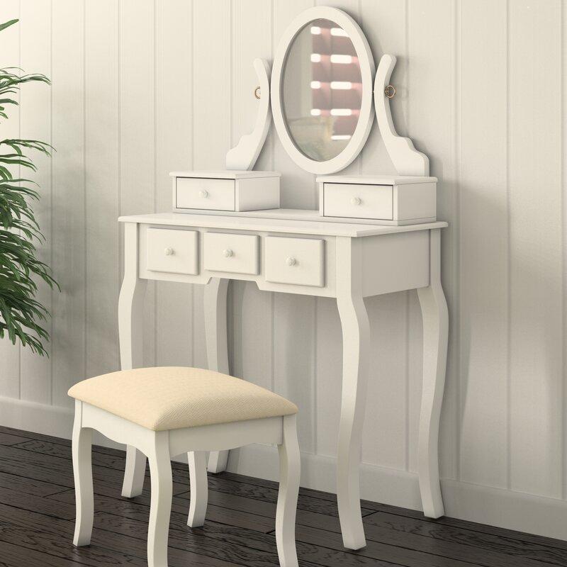 Beachcrest Home Zeke Wood Makeup Vanity Set With Mirror