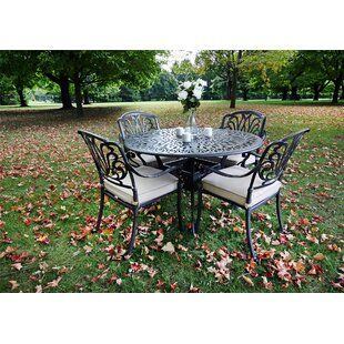 Gunter 5 Piece Dining Set with Sunbrella Cushions By Fleur De Lis Living