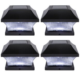 Solar Garden Pathway 4 LED Fence Post Cap (Set of 4) By Trademark Innovations Outdoor Lighting
