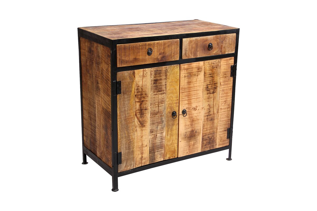 Industrial Reclaimed Wood And Iron 2 Drawer Sideboard Accent Cabinet