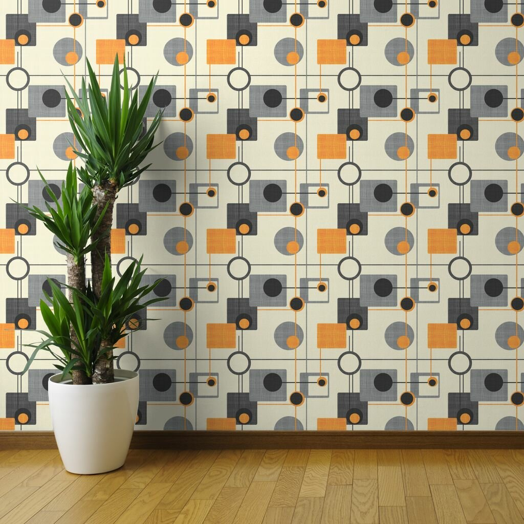 orange and grey mod peel and stick removable wallpaper mod orbs and squares orange and cream mid century modern retro vintage geometric orange grey woven textured self adhesive wallpaper panel roll or sample